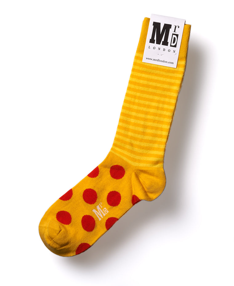 Stripe Spot Fine Sock - Yellow/Orange