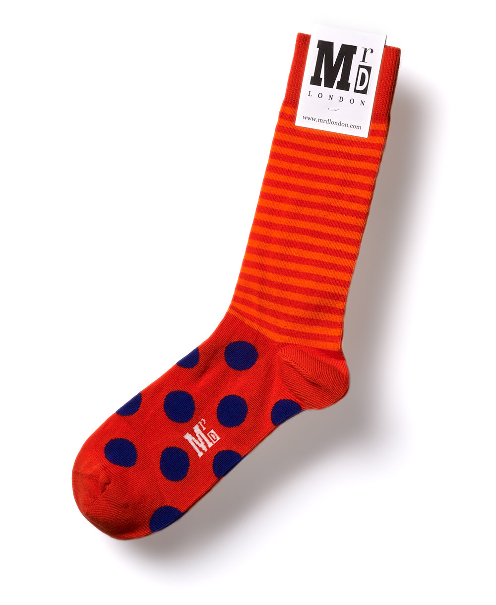 Stripe Spot Fine Sock - Orange/Purple 1
