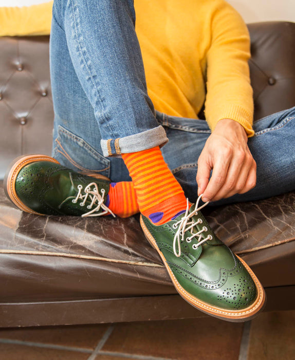 Stripe Spot Fine Sock - Orange/Purple 5