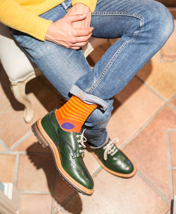 Stripe Spot Fine Sock - Orange/Purple 2