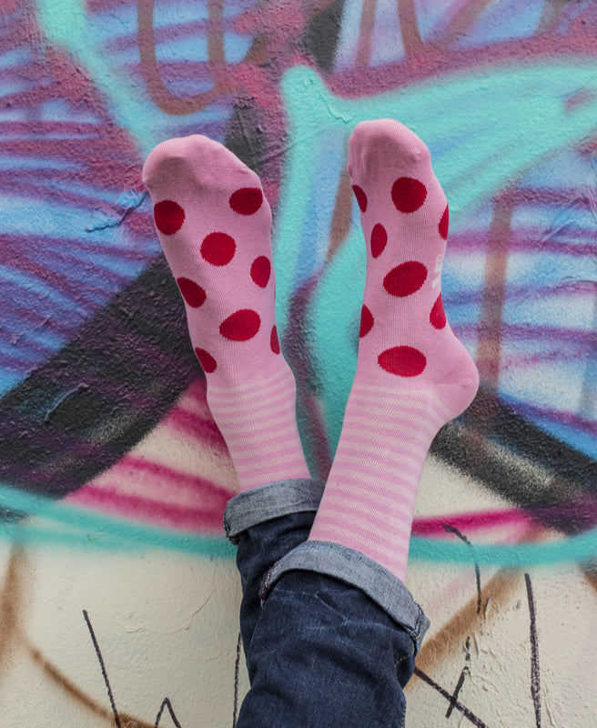 Stripe Spot Fine Sock - Pink/Red 2
