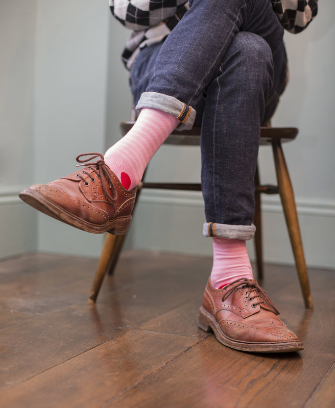 Stripe Spot Fine Sock - Pink/Red 5