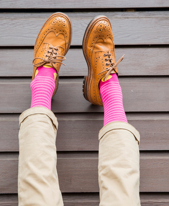 Stripe Spot Fine Sock - Fuchsia/Yellow 3