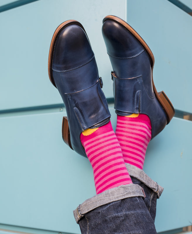 Stripe Spot Fine Sock - Fuchsia/Yellow 2