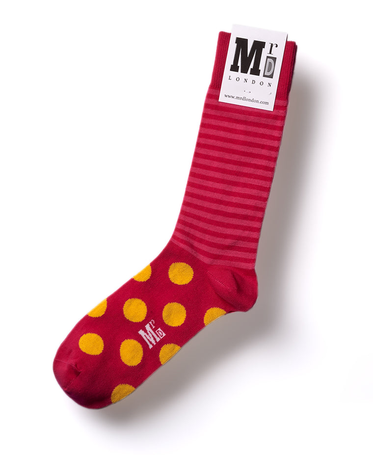 Stripe Spot Fine Sock - Fuchsia/Yellow