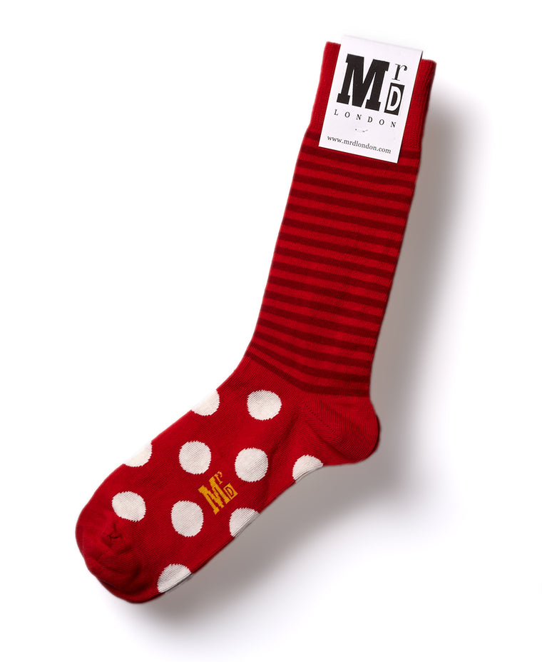 Stripe Spot Fine Sock - Red/White
