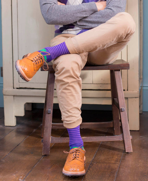 Stripe Spot Fine Sock - Purple/Green 4