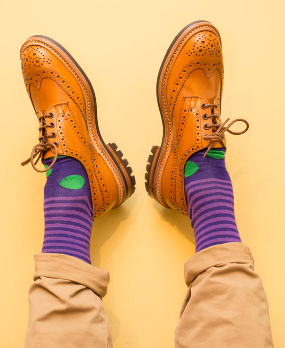 Stripe Spot Fine Sock - Purple/Green 2