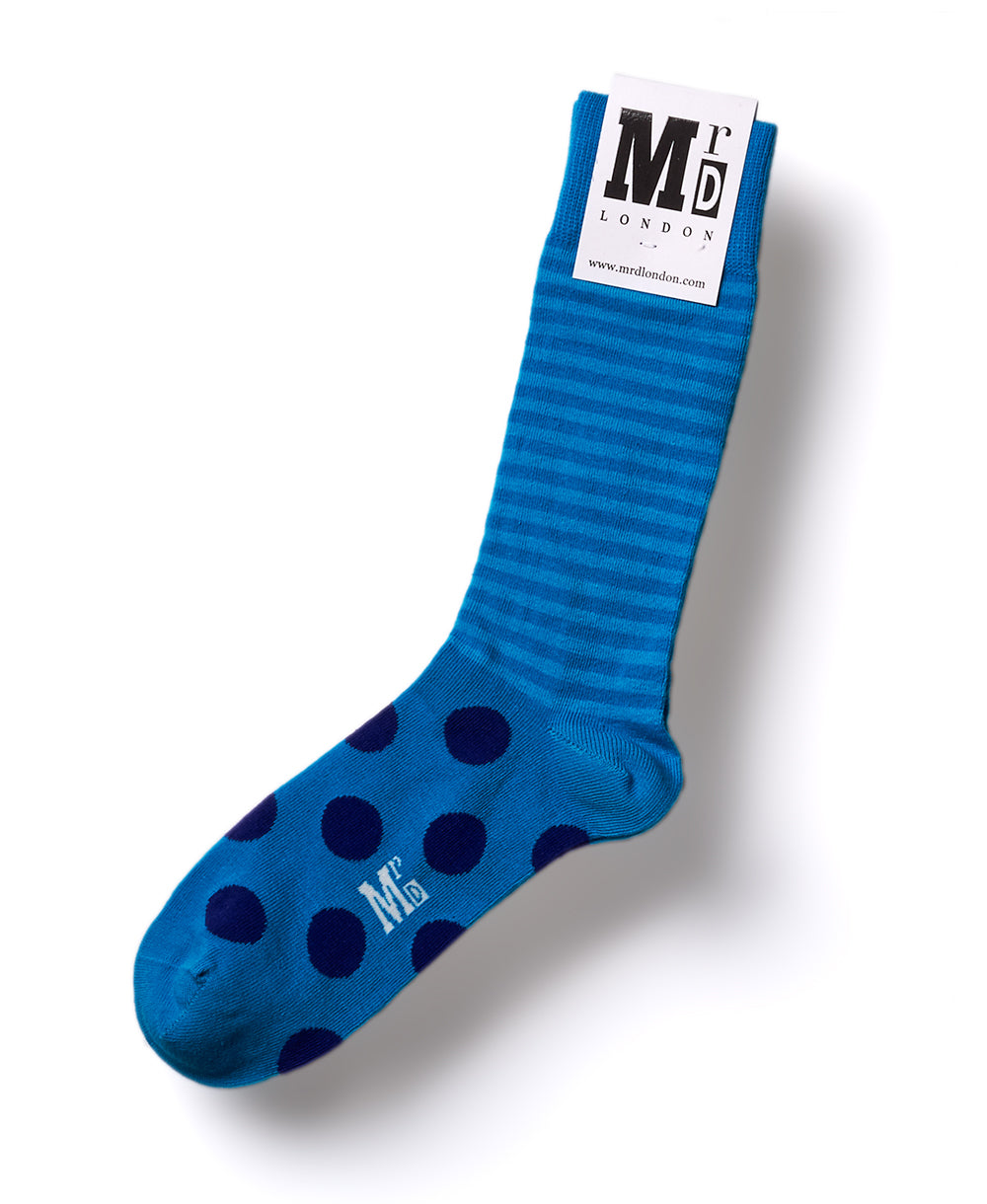Stripe Spot Fine Sock - Turquoise/Purple 1