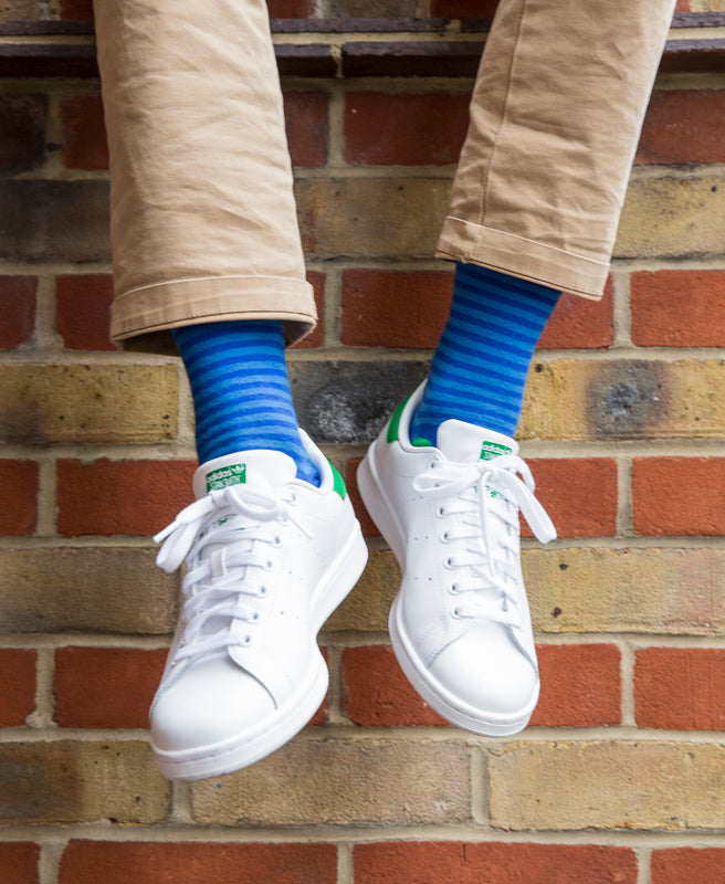 Stripe Spot Fine Sock - Royal/Lime 2