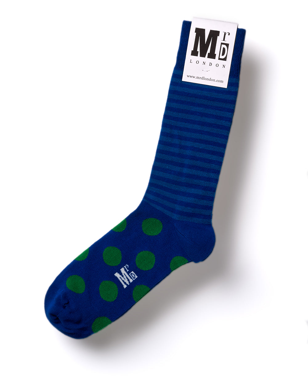 Stripe Spot Fine Sock - Royal/Lime 1