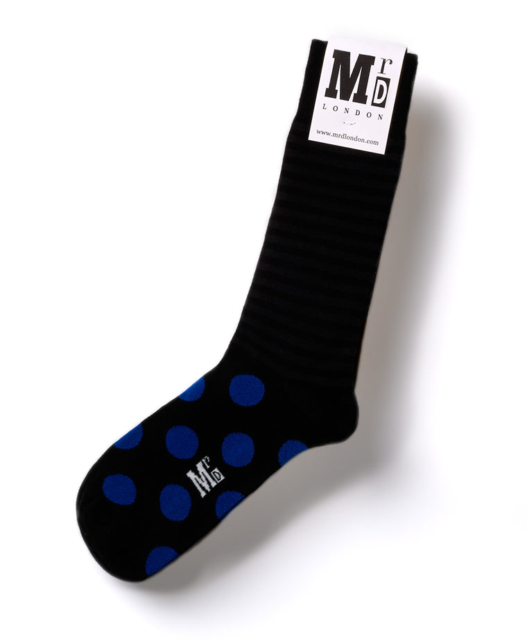 Striped Fine Sock - Black/Blue Stripe