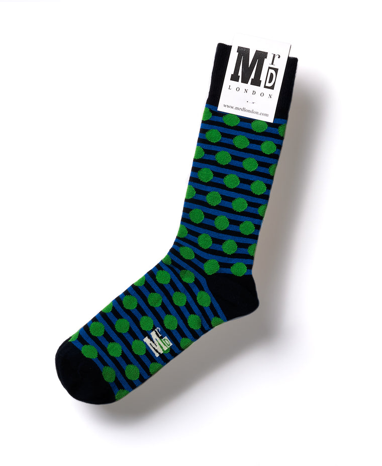 Stripe Spot Fine Sock - Navy/Green