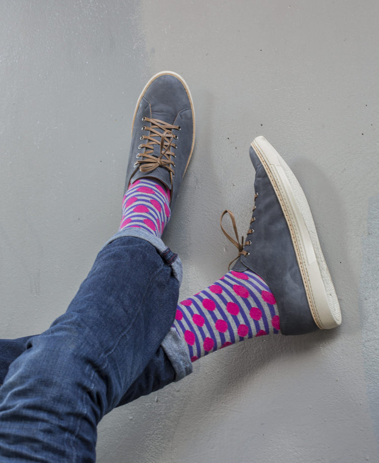 Stripe Spot Fine Sock - Purple/Pink 3