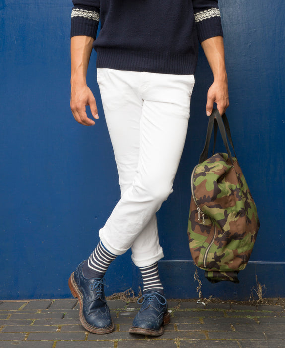 Marine Stripe Fine Sock - Blue 8