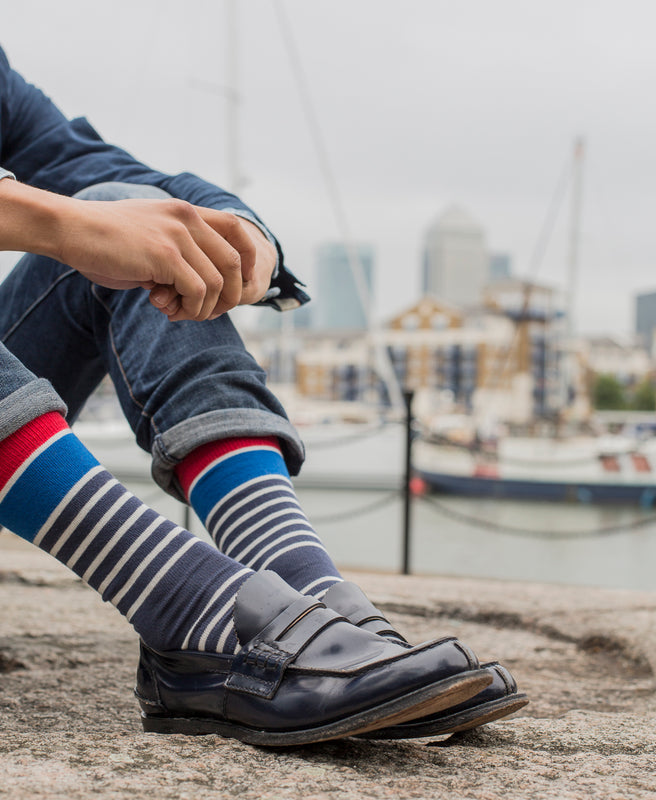 Marine Stripe Fine Sock - Blue 3