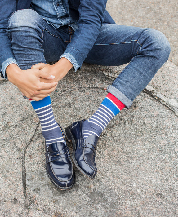 Marine Stripe Fine Sock - Blue 4