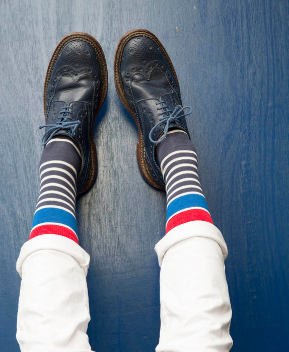 Marine Stripe Fine Sock - Blue 5