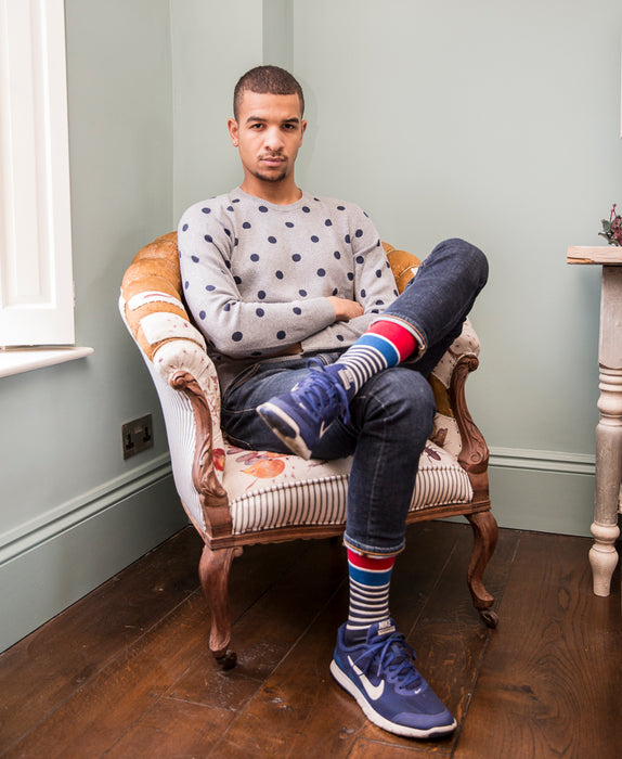 Marine Stripe Fine Sock - Blue 10