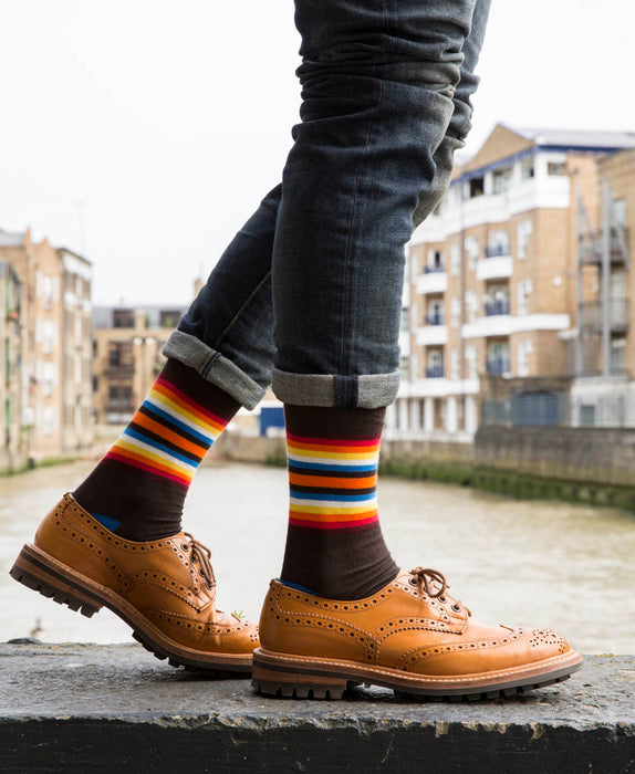 Striped Fine Sock - Sunset Multi 6