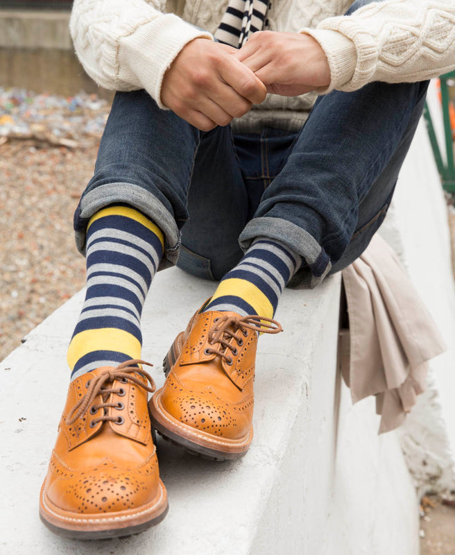 Team Stripe Fine Sock - Yellow 4