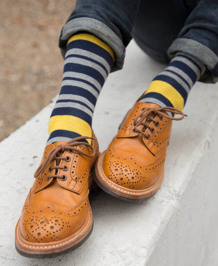 Team Stripe Fine Sock - Yellow 13