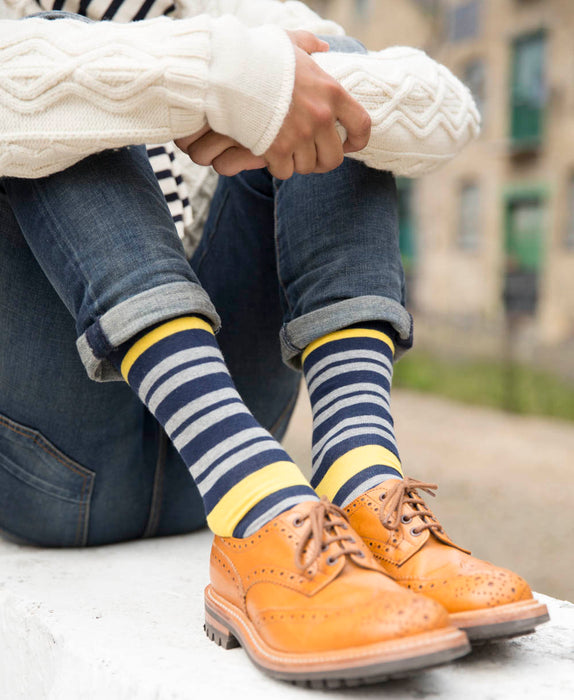 Team Stripe Fine Sock - Yellow 12