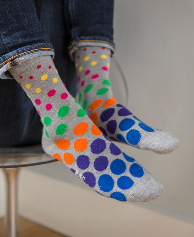 Spotted Fine Sock - Grey Multi 9