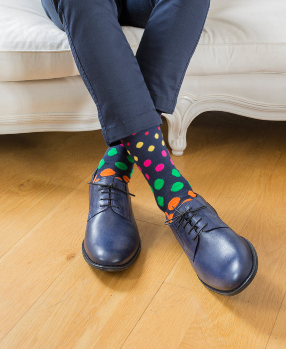 Spotted Fine Sock - Navy Multi 4