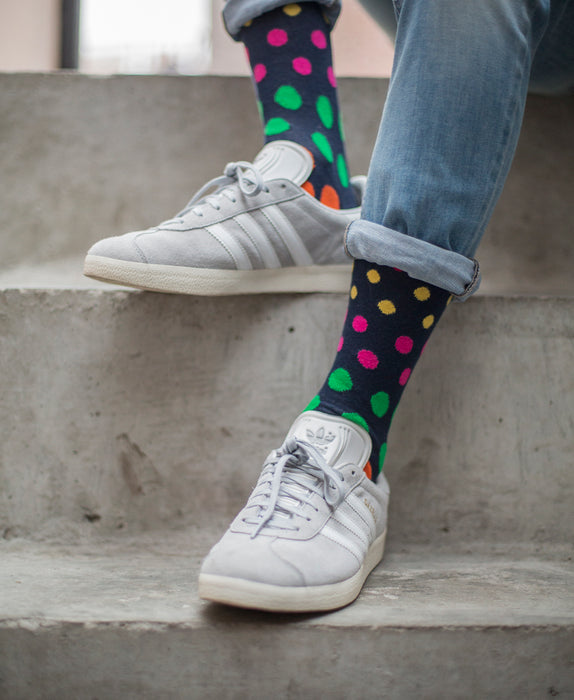 Spotted Fine Sock - Navy Multi 9