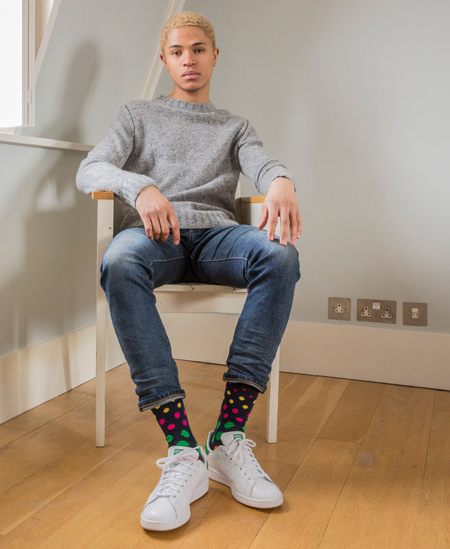 Spotted Fine Sock - Navy Multi 14