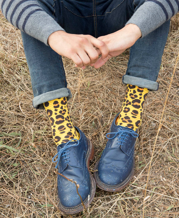 Leopard Spotted Fine Sock - Yellow 10