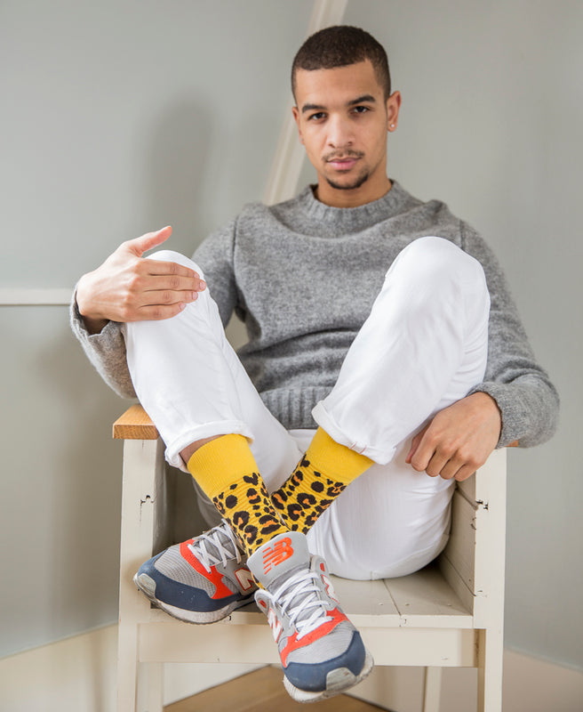 Leopard Spotted Fine Sock - Yellow 11