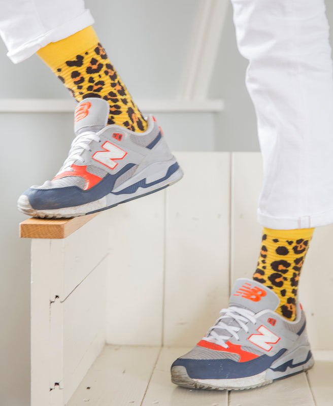 Leopard Spotted Fine Sock - Yellow 8
