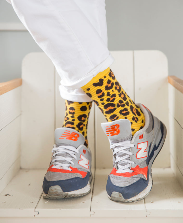 Leopard Spotted Fine Sock - Yellow 9