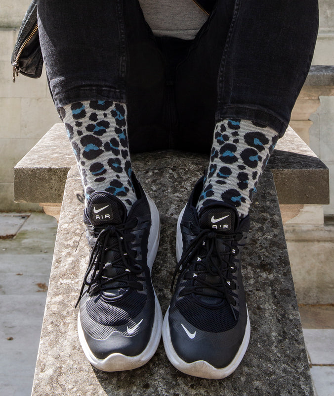 Leopard Spotted Fine Sock - Grey