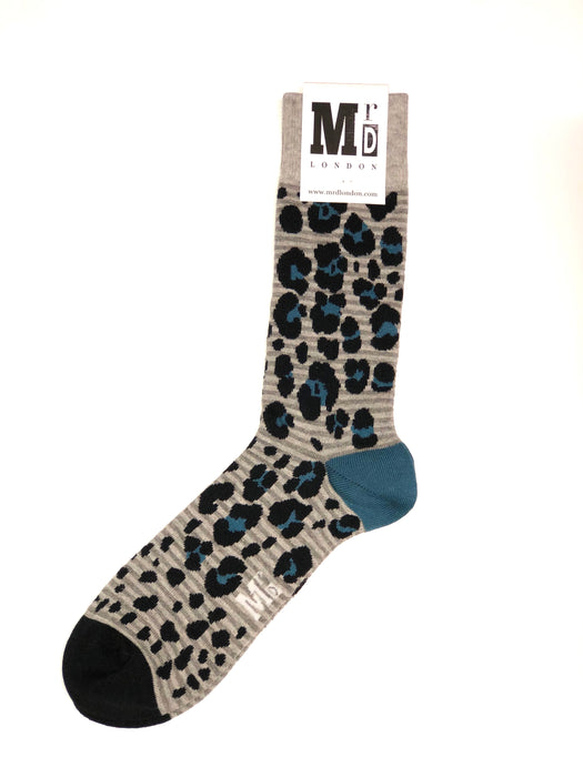 Leopard Spotted Fine Sock - Grey 1