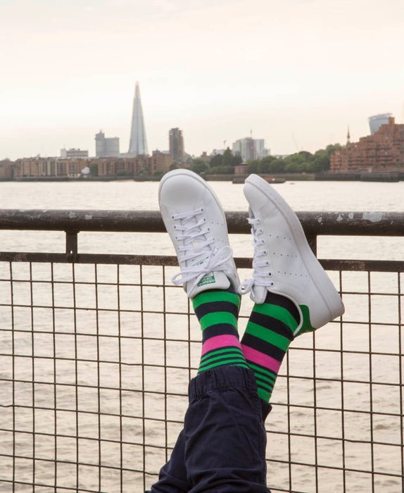 Striped Fine Sock - Green Multi 6