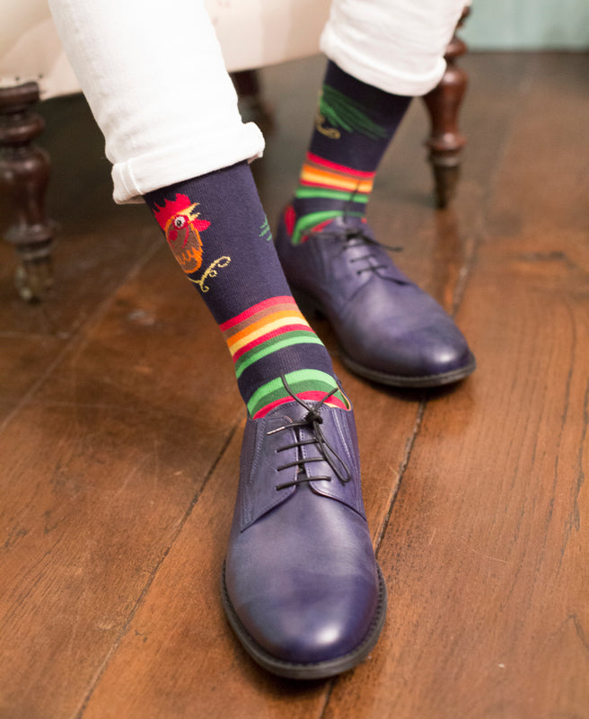 Cockerel Fine Sock - Navy 2
