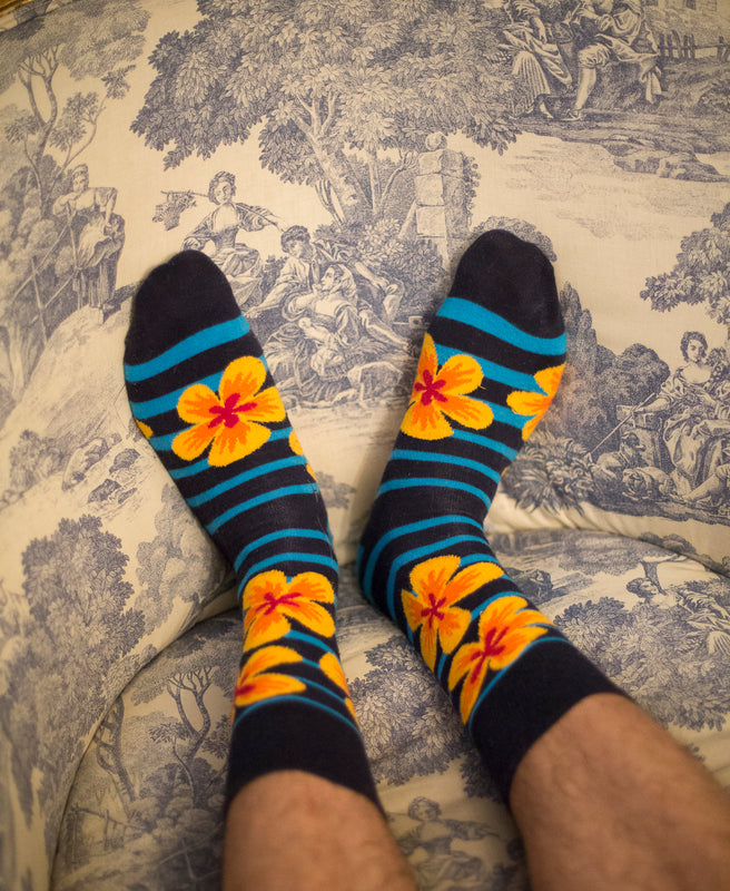 Flower Fine Sock - Navy 8
