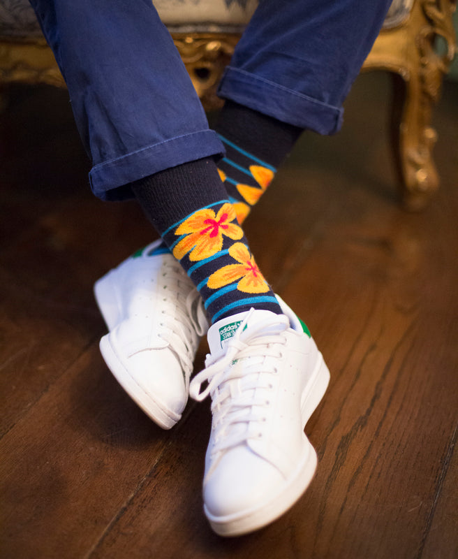 Flower Fine Sock - Navy 7