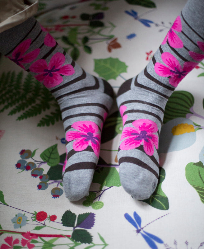 Flower Fine Sock - Grey 11