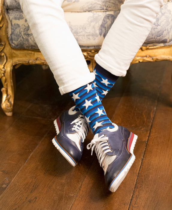 Striped Fine Sock - Blue/White Stars 6
