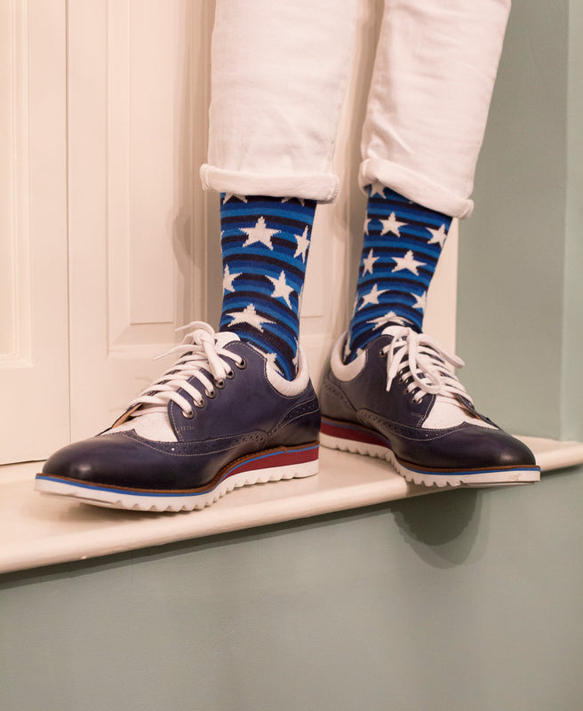 Striped Fine Sock - Blue/White Stars 5