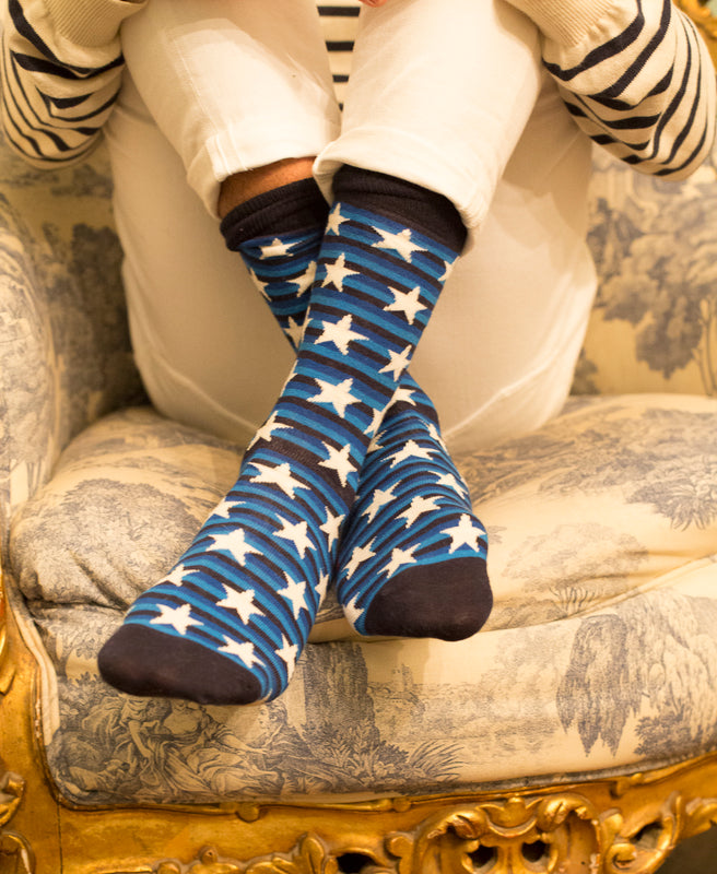 Striped Fine Sock - Blue/White Stars 3