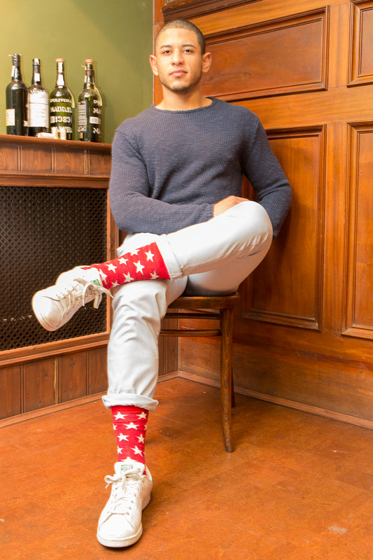 Striped Fine Sock - Red/White Stars