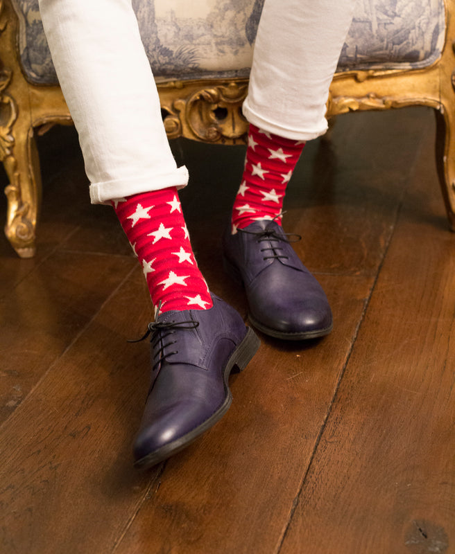 Striped Fine Sock - Red/White Stars 2