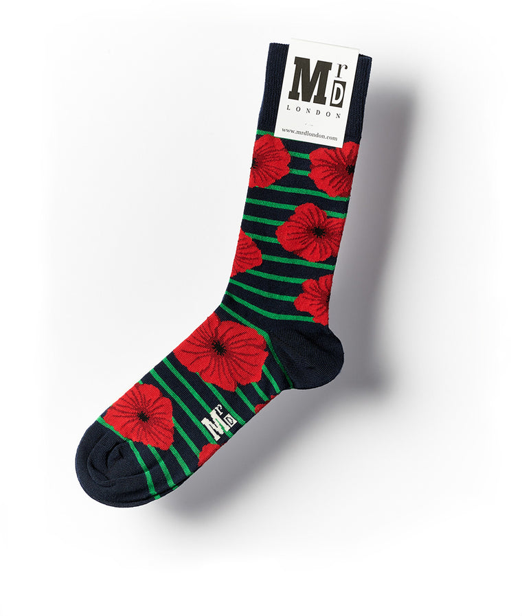 Poppies Fine Sock - Green/Red