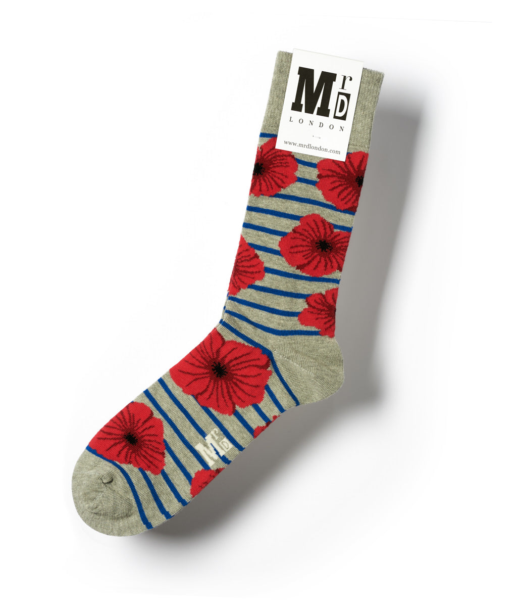 Poppies Fine Sock - Grey/Blue