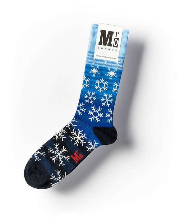 Snowflakes Fine Sock - Blue/White 1